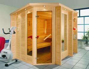 Sauna Glasfront Blockbohlen-Sauna Sauna aus Holz